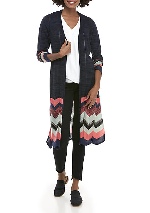 New Directions® Long Sleeve Chevron Hem Marled Cardigan