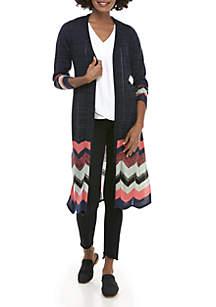 New Directions® Long Sleeve Chevron Hem Marled Cardigan