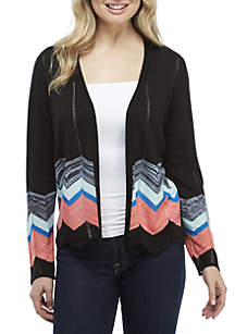 Short Chevron Hem Cardigan