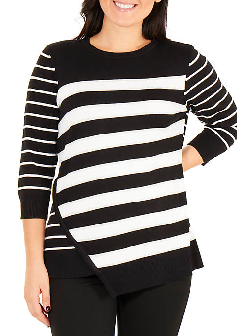 Cross Front Striped Sweater