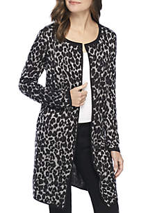 Animal Printed Open Front Cardigan