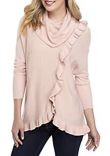 Long Sleeve Ruffle Cowl Neck Sweater