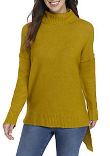 Turtleneck Pullover with Asymmetrical Hem