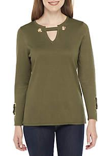 Three-Quarter Sleeve Hardware Neckline Loose Pullover