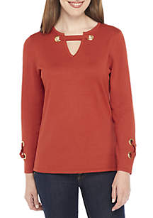 New Directions® Three-Quarter Sleeve Hardware Neckline Loose Pullover