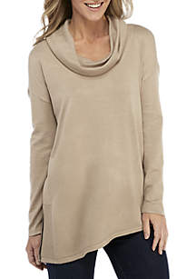 Long Sleeve Asymmetrical Cowl Neck Pullover Sweater