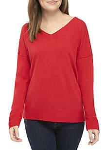 Long Sleeve Mixed Rib Pullover
