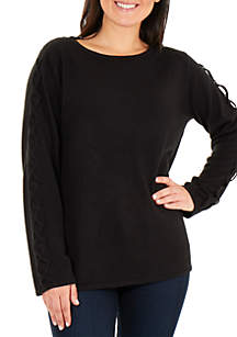 ... New Directions® Braided Long Sleeve Pullover Sweater c8bed9d598a0