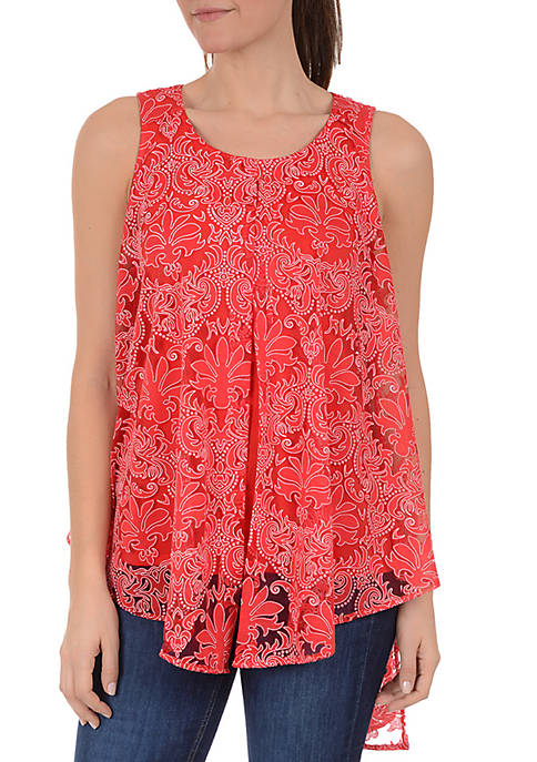 New Directions® Petite Sleeveless Flyaway Textured Knit Top