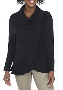 Petite Cowl Neck Ruffle Sweater