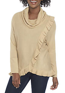New Directions® Petite Cowl Neck Ruffle Sweater