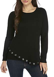 Petite Asymmetrical Long Sleeve Grommet Sweater