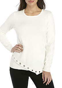 Petite Asymmetrical Long Sleeve Grommet Sweater