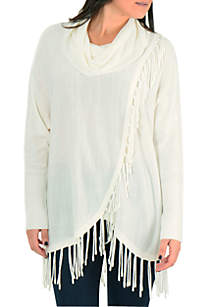 New Directions® Petite Cowl Neck Fringe Pullover