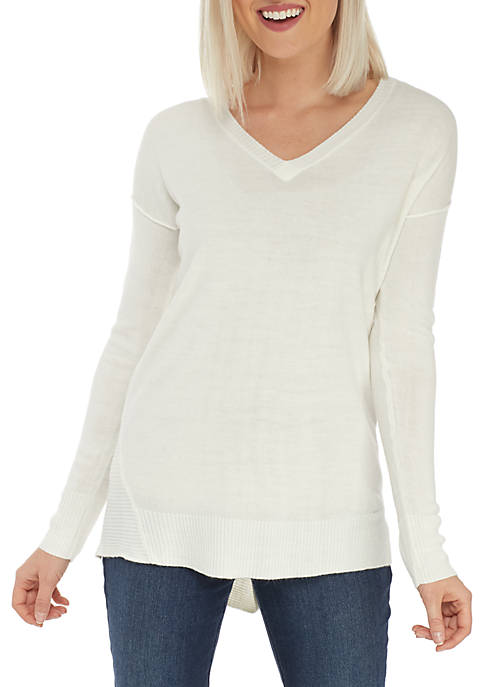 New Directions® Petite Pullover Asymmetrical Rib Sweater