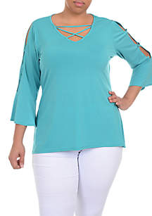 Plus Size Three-Quarter Sleeve Cross Neck Bell Sleeve ITY Top