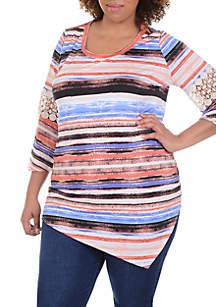 Plus Size Three-Quarter Sleeve Crochet Top