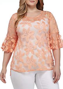 Plus Size Three-Quarter Sleeve Burnout Floral Top