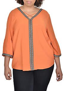 Plus Size Three-Quarter Sleeve Peasant Top