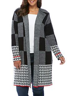 Plus Size Plaid Coatigan Sweater