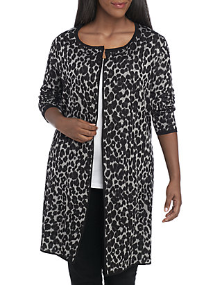 7b3f110e618e New Directions®. New Directions® Plus Size Animal Print Cardigan