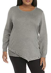 Plus Size Asymmetrical Grommet Sweater