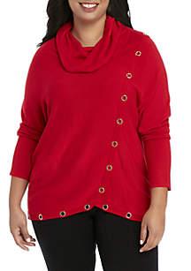 Grommet Cowl Neck Sweater