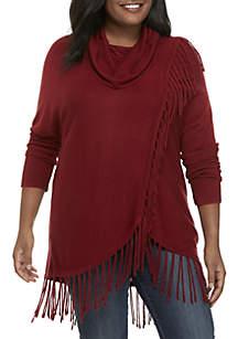 Plus Size Cowl Neck Fringe Sweater