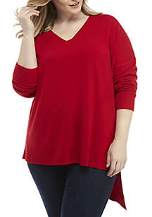 Plus Size Long Sleeve Asymmetrical Ribbed V-Neck Sweater