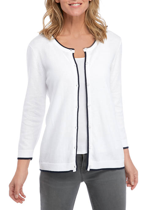 Womens 3/4 Sleeve Cardigan with Tipping