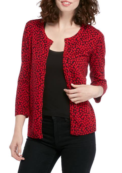 Kim Rogers® Womens 3/4 Sleeve Petal Dot Pattern