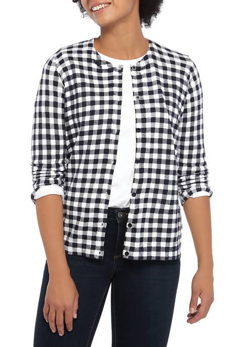 Kim Rogers® Womens 3/4 Sleeve Gingham Essential Cardigan