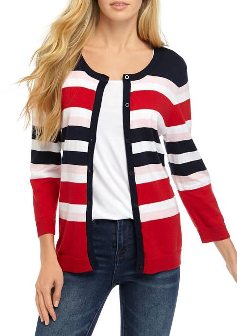 Kim Rogers® Long Sleeve Sweet Stripe Cardigan