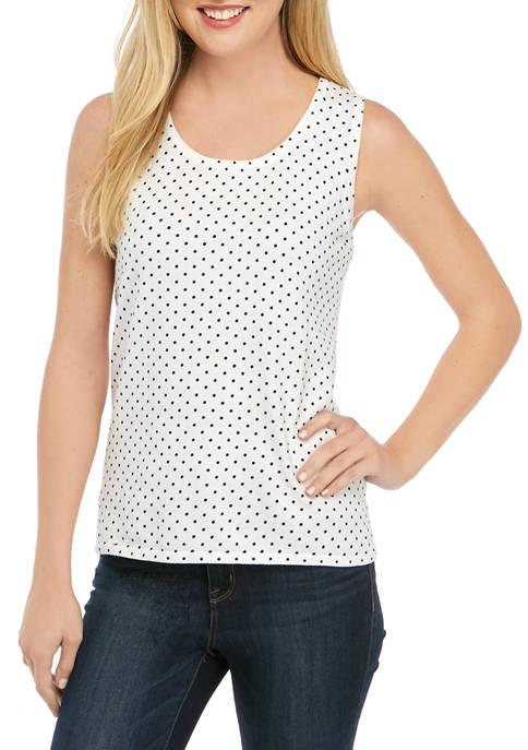 Kim Rogers® Womens Sleeveless Shell Pin Dot Sweater