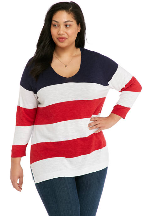 Kim Rogers® Plus Size 3/4 Sleeve Color Block