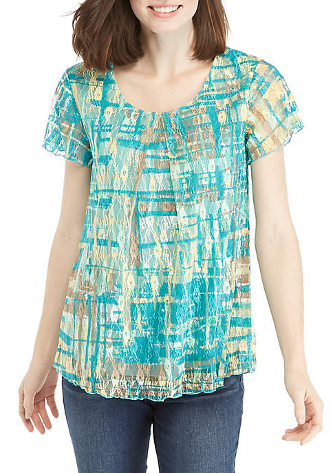 Kim Rogers® Short Sleeve Inverted Pleats Lace Top