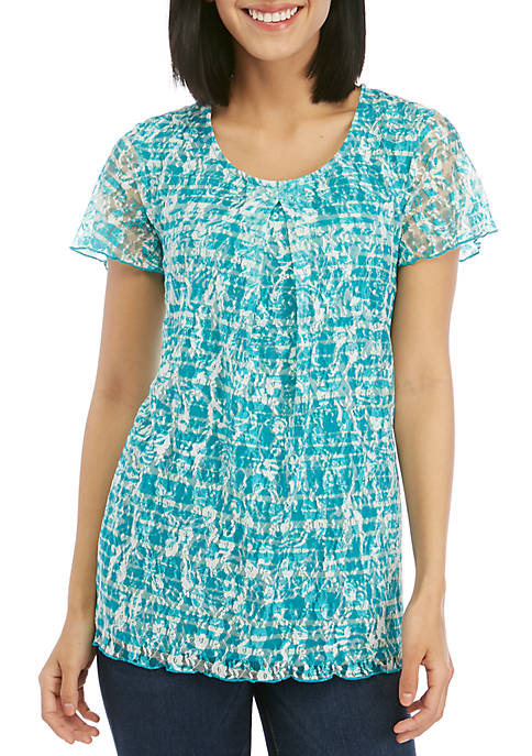 Kim Rogers® Short Sleeve Inverted Pleat Printed Lace