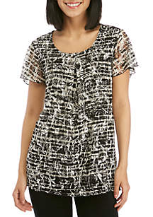 Kim Rogers® Short Sleeve Inverted Pleat Lace Top