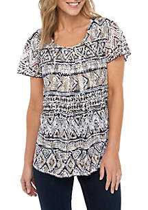 Kim Rogers® Printed Lace Inverted Pleat Swing Top