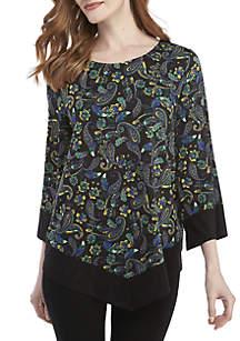 Paisley Asymmetric Knit Top