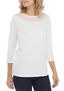 Embroidered Neck Tee