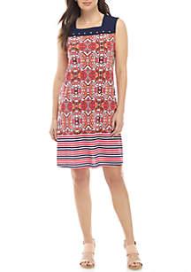 Kim Rogers® Colorblock Grommet Trim Dress
