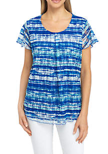 Petite Size Short Sleeve Blurred Stripe Pleated Top