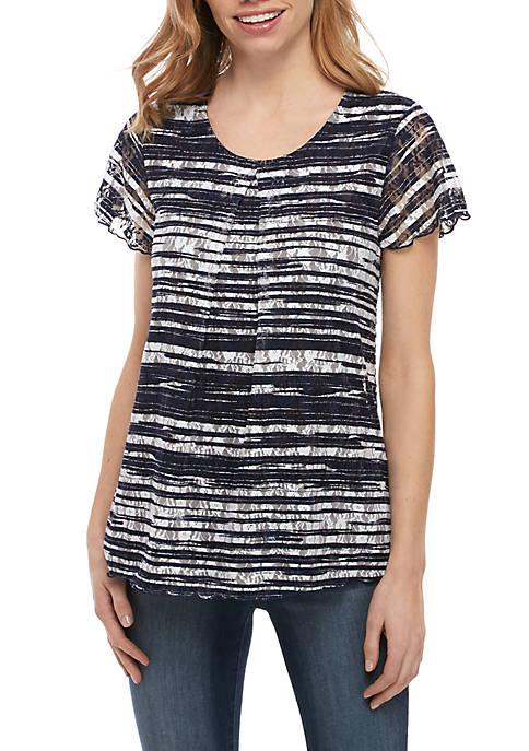Kim Rogers® Petite Short Sleeve Inverted Pleat Top