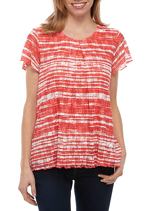 Kim Rogers® Petite Short Sleeve Inverted Pleat Top