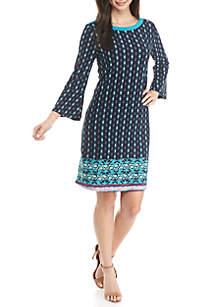 Petite Boat Neck Bell Sleeve Dress