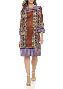 Petite Bell Sleeve Border Print Dress