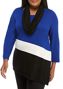 Plus Size Colorblock Sweater and Scarf Set