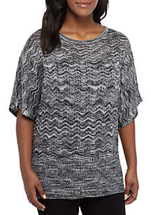Plus Size Open Stitch Dolman Sleeve Sweater with Lurex