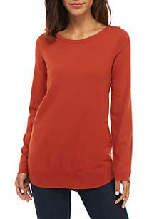 Round Hem Sweater With Button Details